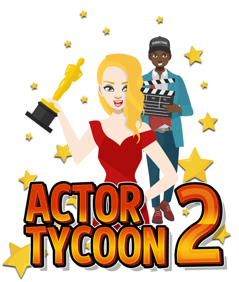 Simulator game Actor Tycoon 2 banner depicting actress receiving film award, director with a clapper